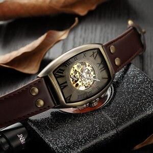 Image 3 - Shenhua 2019 Vintage automatyczny zegarek mężczyźni mechaniczne zegarki na rękę mężczyzna mody szkielet Retro brązowy zegarek zegar montre homme