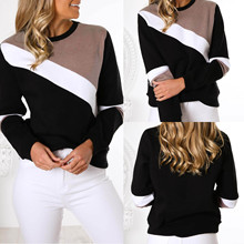 Goocheer Color Block matching Sweatshirt Preppy Round Neck Long Sleeve Pullovers Women Autumn Multicolor Sweatshirts