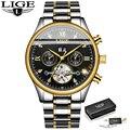 Новые деловые мужские часы  наручные часы Топ люксовый бренд LIGE Tourbillon спортивные Механические мужские модные автоматические часы Reloj Hombre