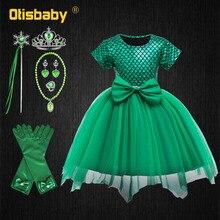 Halloween The Little Mermaid Costume Infant Girls Green Fluffy Tulle Tutu Dress Baby Fancy Ariel Fantasia Infantil