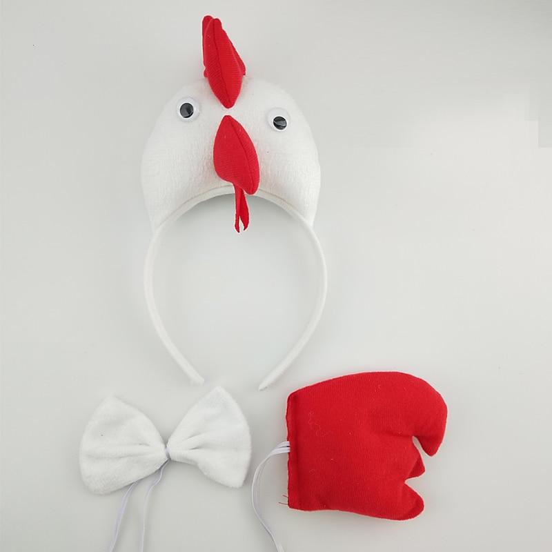 Детская повязка на голову с ушками животных для мальчиков и девочек; комплект с галстуком-бабочкой и хвостом для детей и взрослых; карнавальный костюм; вечерние аксессуары для волос - Цвет: 55
