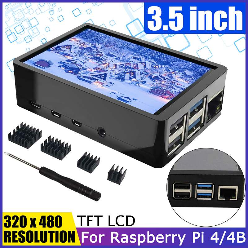 125MHz 3.5inch TFT LCD Touch Screen + ABS Case +Screwdriver +4Pcs Hheat Sinks LCD Display Monitor Kit For Raspberry Pi 4 / 4B
