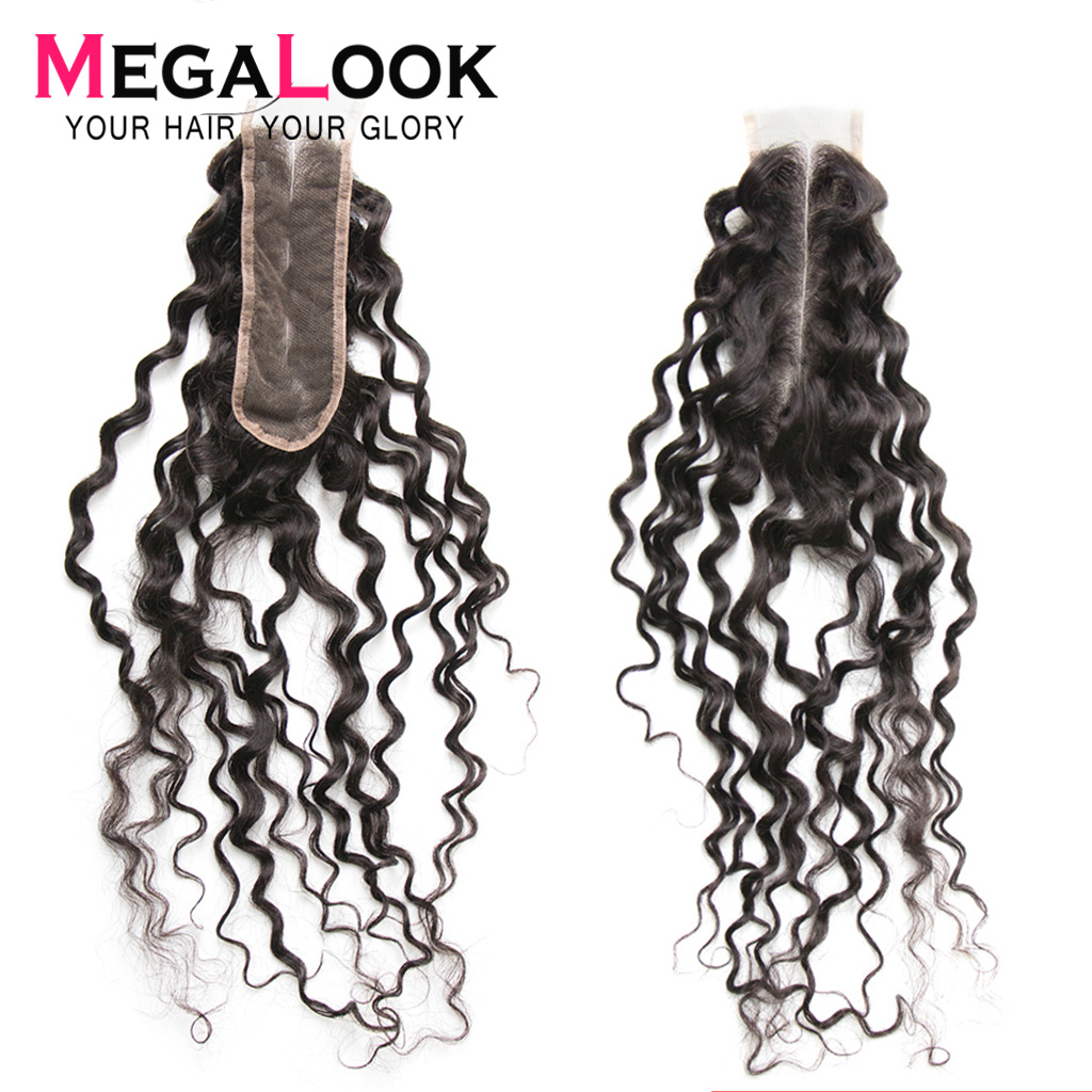 Deep Wave Closure Brazilian Hair Middle Part Closure 2x6 Closure 20 Inch Remy Megalook