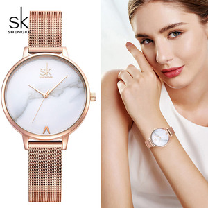 Image 4 - Shengke Rose Gold Women Watches Set Luxury Crystal Design Earrings Necklace Watch Set Box Watch Xmas Gifts Jewelry Women