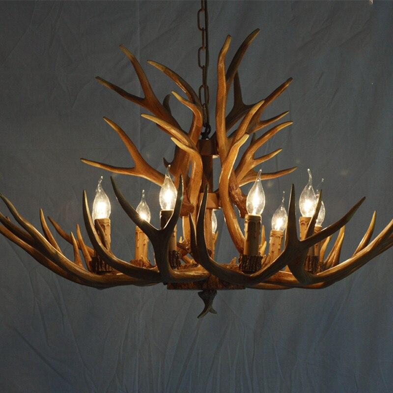 chifre veado resina lustre iluminacao para sala de estar quarto hotel antler led lustre loft vintage