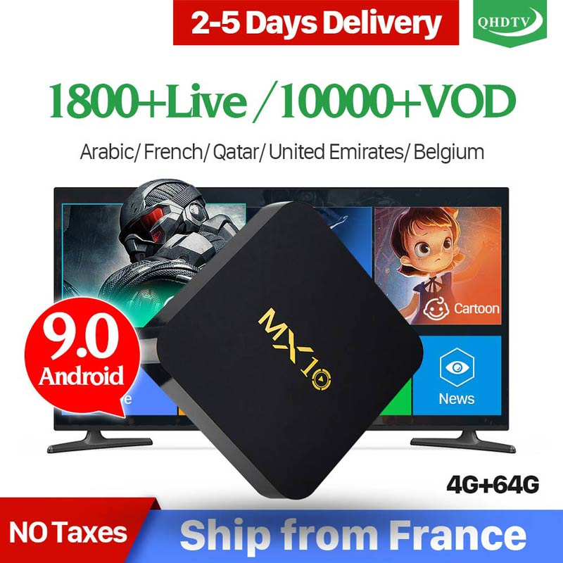 IPTV France MX10 Android 9.0 RK3328 4G 64G avec 1 an IPTV France Italia pays-bas belgique arabe QHDTV IPTV décodeur