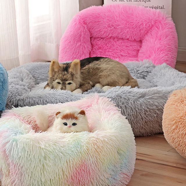 Square Dog Bed Long Plush Solid Color Pet Beds Cat Mat For Little Medium Large Pets Super Soft Winter Warm Sleeping Mats 2