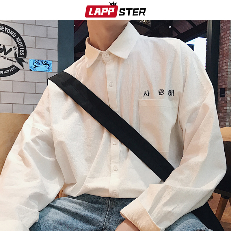 LAPPSTER Mens Korean Fashions Shirts Long Sleeve 2020 Mens Harajuku White Embroidery Cotton Shirts Male Button Up Shirt Shirt