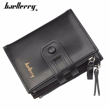 2020 NEW PU Leather Men Wallets Double Zipper Card Holder Female Purse Coin Pocket Short Style Top Quality Men Purse 2020 new top quality men wallets hasp short solid men purse fashion zipper card holder coin pocket high quality male purse