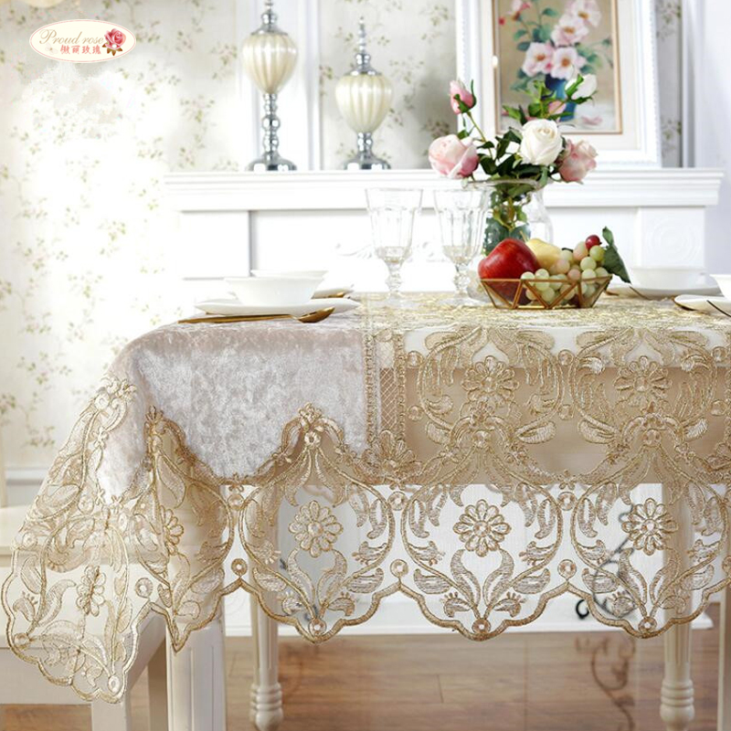 Proud Rose European Luxury Table Cloth Lace Yarn Tea Table Cover Sofa Towel Home Decoration TV Cabinet Rectangular Tablecloths