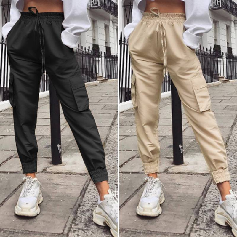 ZANZEA Women's Pants Female Long Pantalones 2020 Fashion Lady Solid High Wiast Trousers Casual Pockets Cargo Pants Streetwear