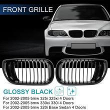 Uxcell 2 шт. глянцевый/матовый черный передний капот решетка радиатора для BMW E46 320i 325i 325xi 330i 330xi 4 двери 2002-2005
