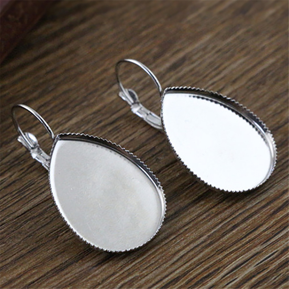( No Fade ) 18x25mm 10pcs Stainless Steel Drop French Lever Back Earrings Blank/Base,Fit 18x25mm Drop Glass Cabochons,(L5-44)