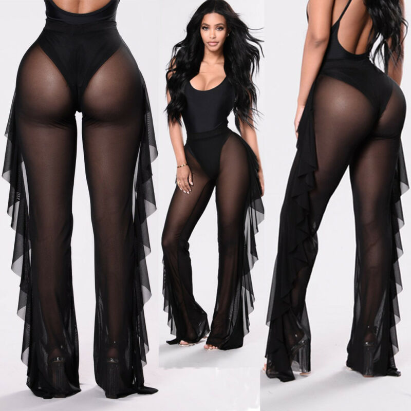 New Sexy Beach Ruffle Women Mesh Pants Sheer Wide Leg Pants Transparent See through the Sea Cover Holiday Up Trousers pantalon