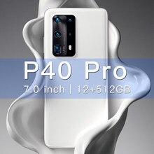2021 глобальная версия смартфонов P40Pro мобильных телефонов 7,0 дюйма 12 ГБ 512 4800 мАч Android 10,0 4G 5G GPS Wi-Fi, уход за кожей лица Разблокируйте телефон