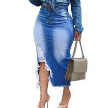 Skirt Irregular Clothing Hem Hip Ripped Midi Bodycon Retro-Washed Female Trendy Sexy