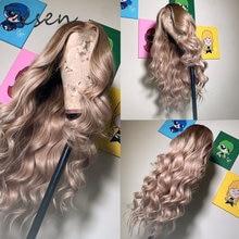 Zesen marrom escuro raízes ombre platina onda peruca dianteira do laço sintético fibra resistente ao calor natural linha fina para perucas brancas