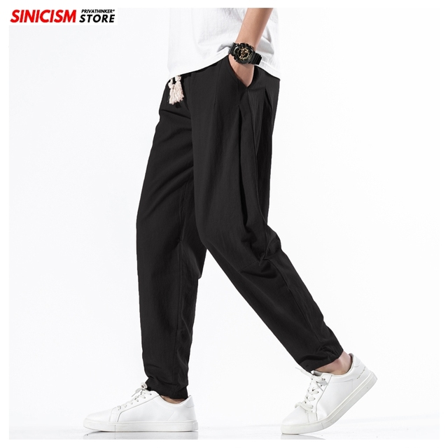 Sinicism Store Solid Spring Harem Pants Men Summer Fitness Jogger Pant 2020 Male Fashion Pants Chinese Style Trousers Bottoms 30