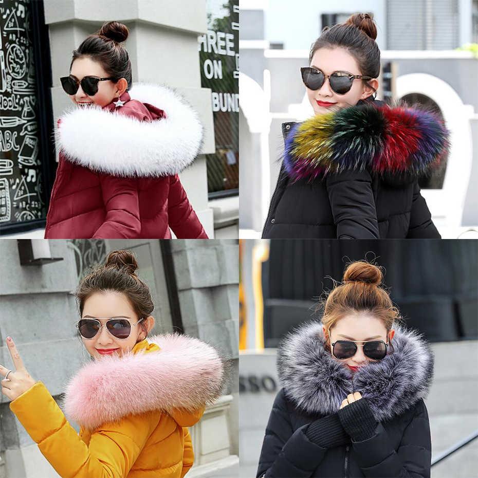 Bayan yeni sahte rakun kürk eşarp kış ceket kaput kürk dekor şal renkli sahte kürk eşarp kış erkek ceket kürk yaka