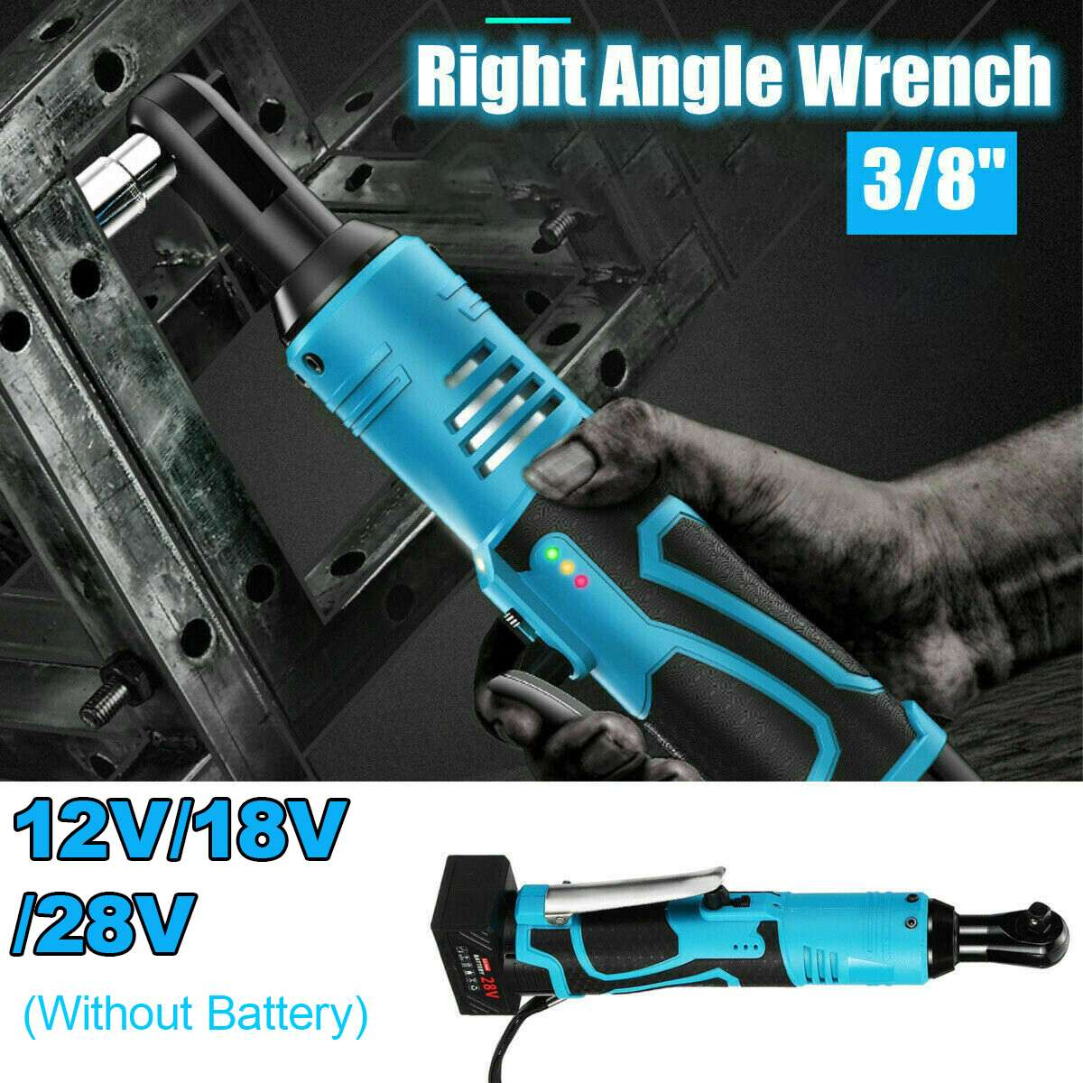 12V/18V/28V Electric Cordless Ratchet Wrench 90 Degree Right Angle Tool Ratchet Large Torque Capacity Right Angle Wrench