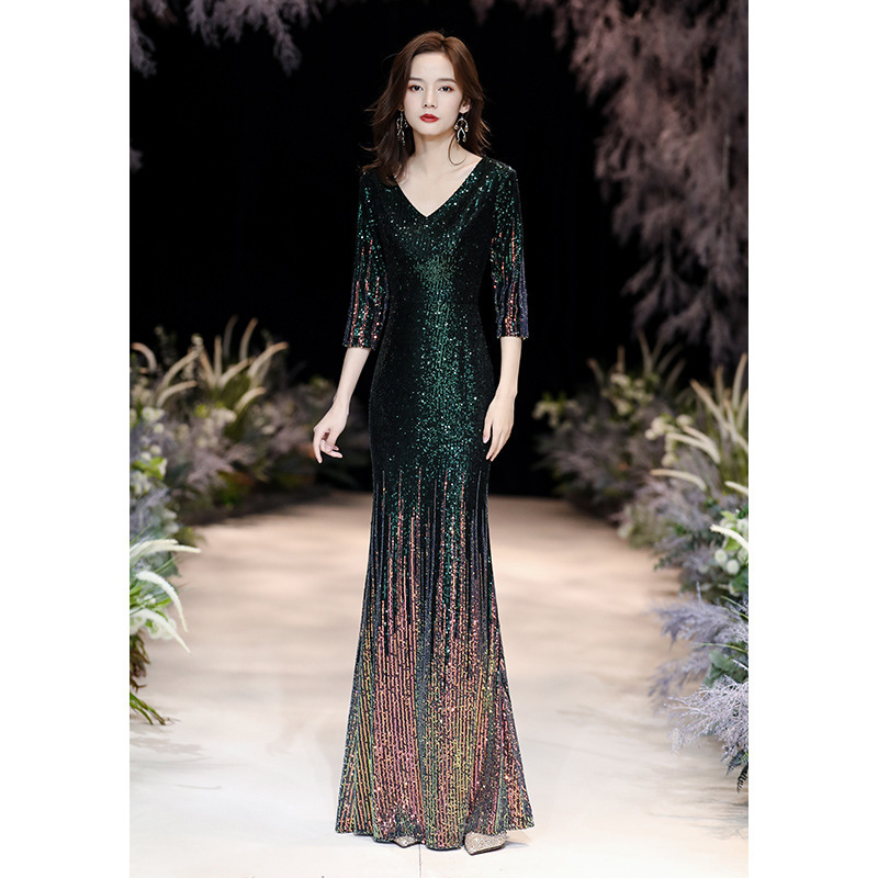 Banquet Evening Dress Women's 2020 New Fish Tail Sequins Long Style Annual Meeting Host Air Show Thin