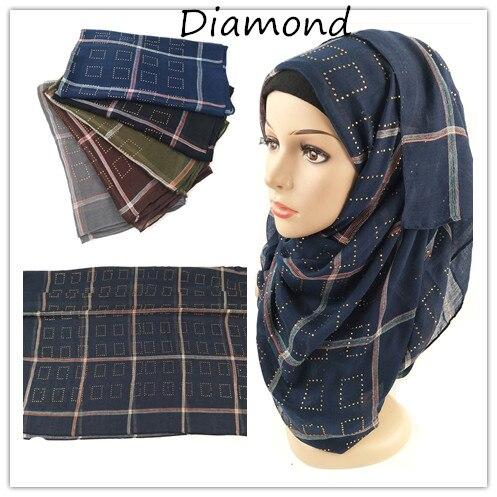 S9 10pcs High quality diamond stripe cotton viscose crinkle hijab shawl   scarf     wrap   headband maxi can choose colors