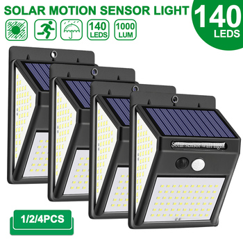 1/2/4pcs 140 LED Outdoor Solar Light PIR Motion Sensor Wall Light Waterproof Solar Lamp Solar Powered Sunlight Garden Decoration 1