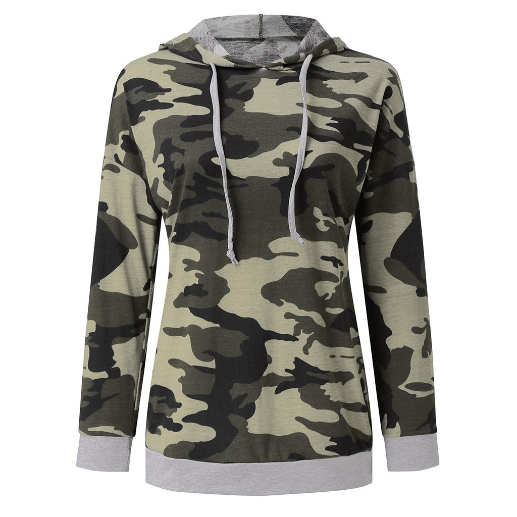 Sport Casual Women Boho Camouflage Hoodie Blouse Shirt Pullover Sweatshirt Long Sleeve Drawstring High Quality Tops Jogger