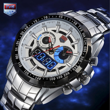 TVG Mens Fashion Full Steel Quartz Watch Military Watch Army