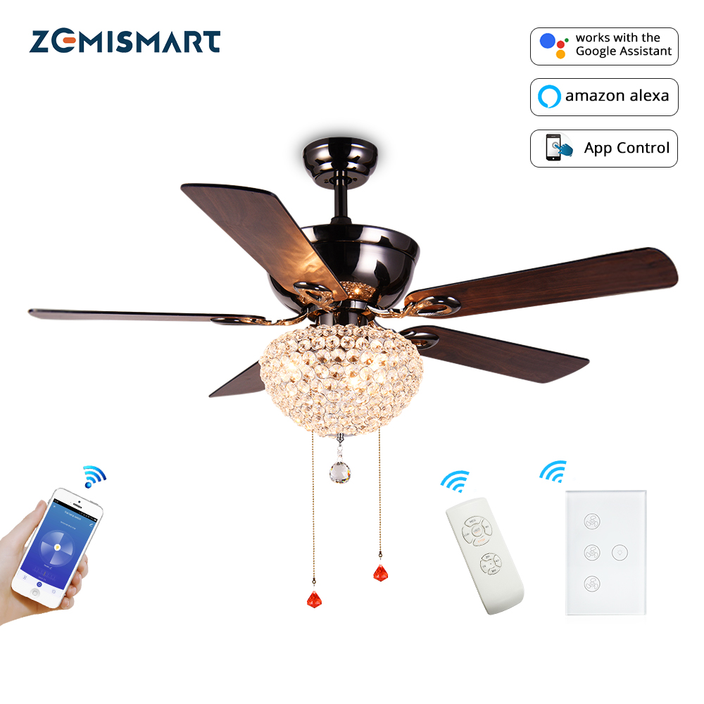 Tuya WiFi Fan Light Alexa Google Home Voice Control Timer Control Come With Remote And Wall Switch