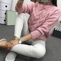 Свитер женский  зимний  с О-образным вырезом  трикотажный  плотный  теплый свитер для девушек 2020  розовый  серый