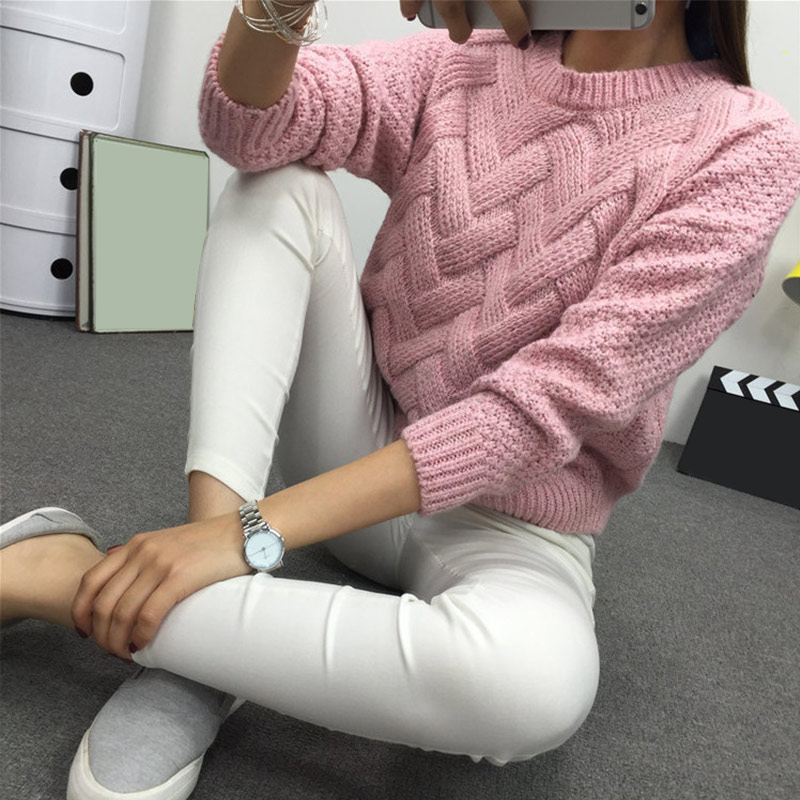 Winter O-neck Women's Sweater Jersey Woman Mohair Knitted Twisted Thick Warm Lady's Pullover 2020 College Jumper Women Pink Gray