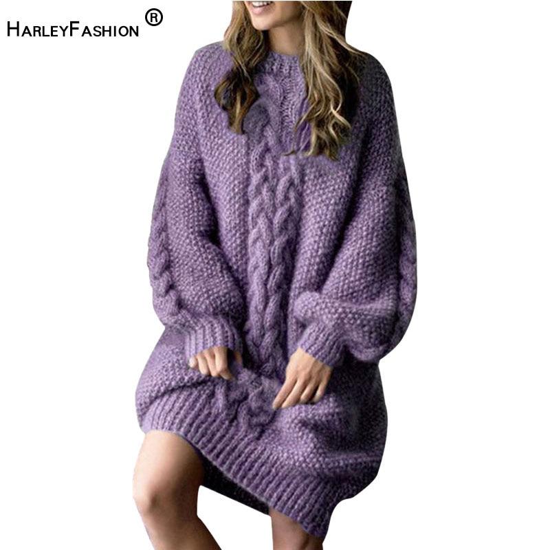 HarleyFashion haute qualité automne hiver Design femmes solide Long chaud tricot pull chandail lanterne manches lâche violet chandails