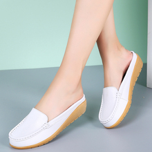 NEW 2020 solid women sandals summer slippers flip flops Genuine Leather flat sandals ladies slip on clogs shoes woman mule shoes moxxy summer retro leather slippers women printing mules loafers slip on flat sandals black ladies shoes woman zapatos m