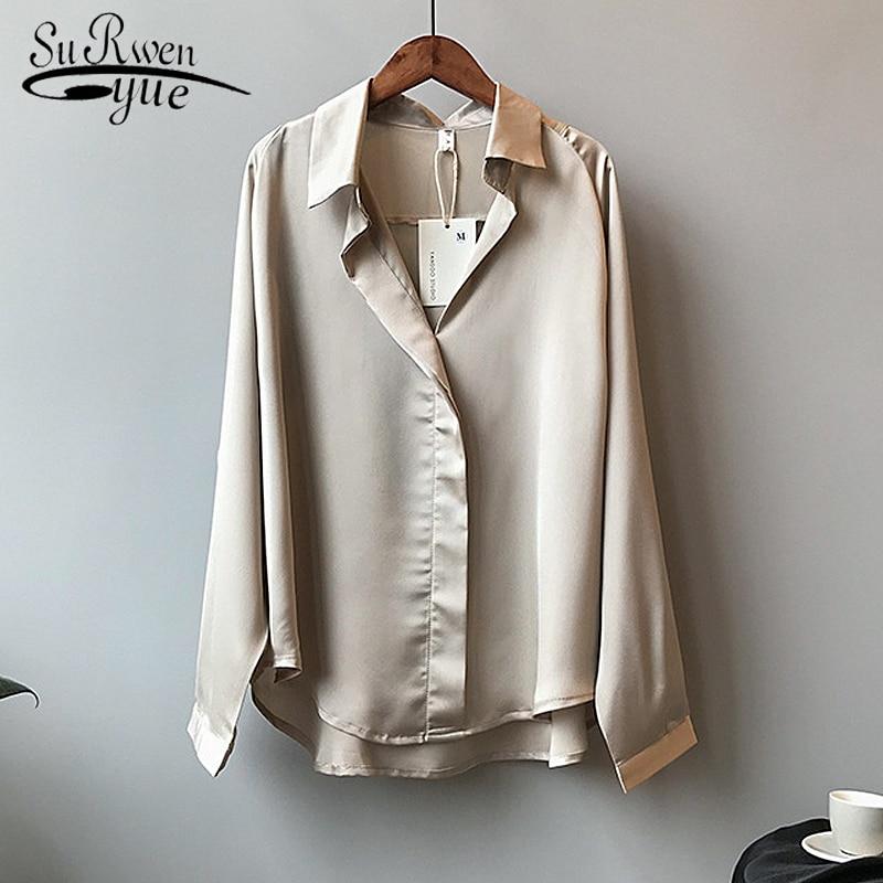 Женская атласная блузка в винтажном стиле с v-образным вырезом, Элегантная блузка из искусственного шелка, 5273 50, осень 2019