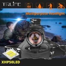 Super Bright LED ไฟหน้าเดิม XLamp XHP50 ที่มีประสิทธิภาพสูง USB LED ไฟหน้า 3*18650 ไฟฉายไฟฉาย