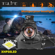 Super Bright Led del faro Originale Xlamp xhp50 di alta potente USB ha condotto il faro della lampada della testa uso 3*18650 torcia della torcia elettrica