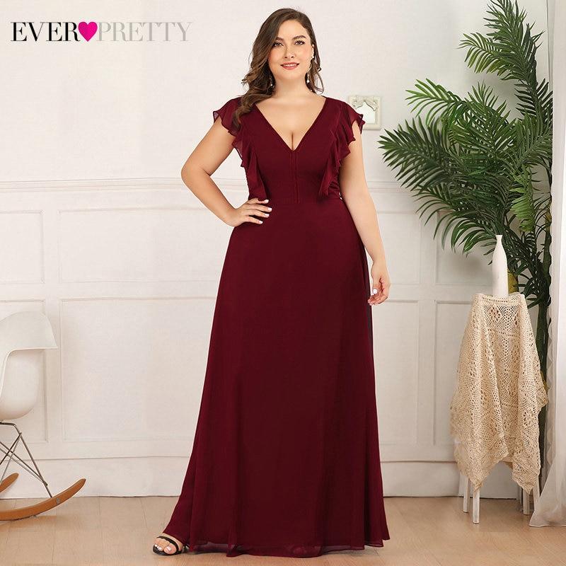 Plus Size Burgundy Bridesmaid Dresses Ever Pretty EP07902BD A-Line Ruffles Sleeveless V-Neck Elegant Wedding Party Gowns 2020
