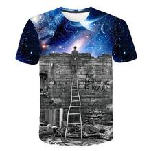 2019 New Funny Novelty Europe and American Men/boy T-shirt 3d fashion print A person watching meteor shower Space galaxy t shirt(China)
