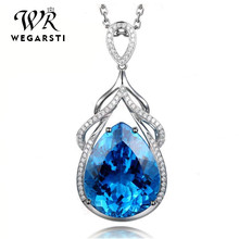 WEGARSTI 925 Sterling Silver Blue Topaz Pendant Necklace for Women Luxury Gemstone Party Necklaces Fine Jewelry For gift(China)