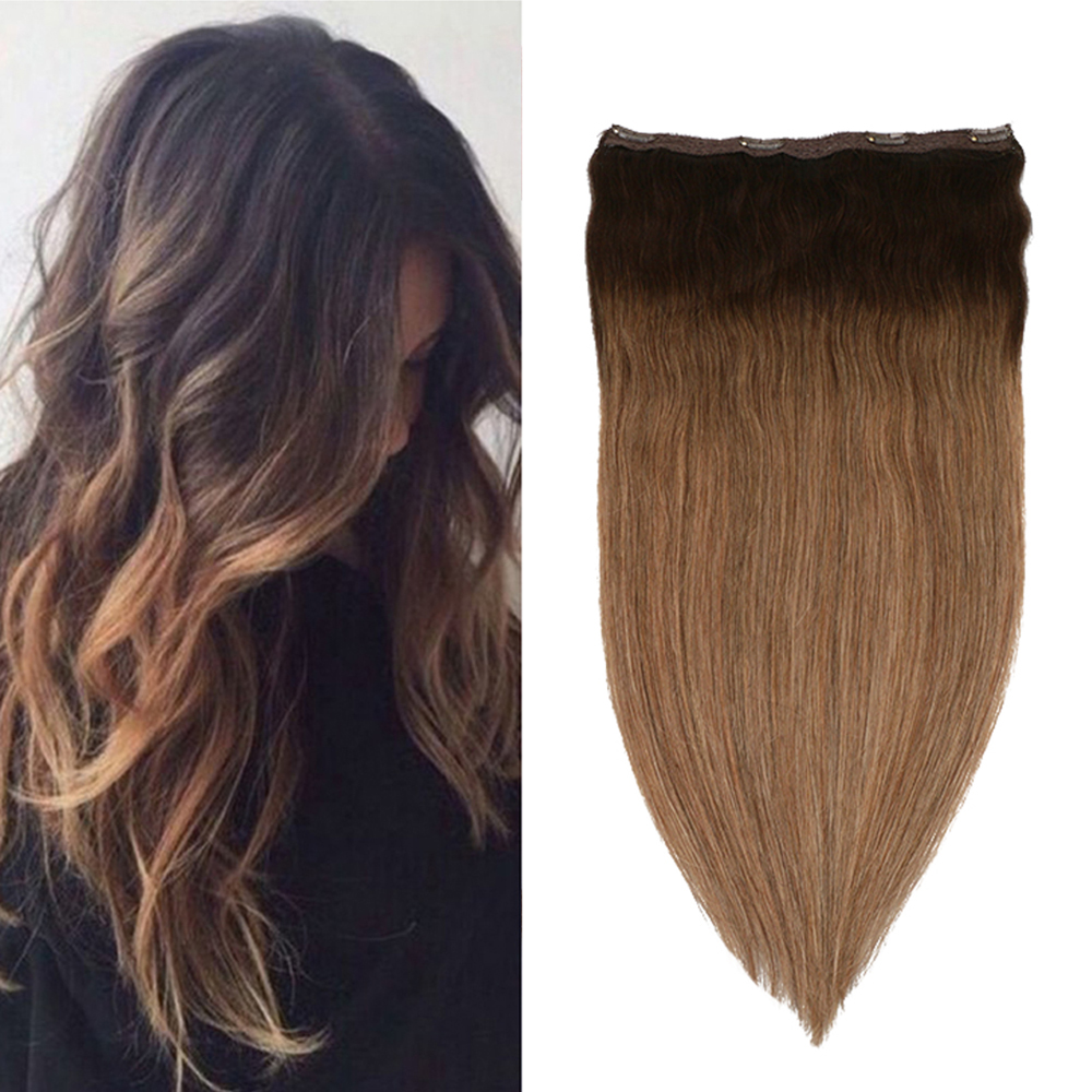 Toysww One Piece Clip in Hair Extensions Human Hair Double Weft Clip on Extensions Balayage Brown #2/2/8