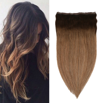 Toysww One Piece Clip in Hair Extensions Human Hair Double Weft Clip on Extensions Balayage Brown #2/2/8 full shine clip in human hair extensions balayage ombre color 10pcs 100g double weft 100