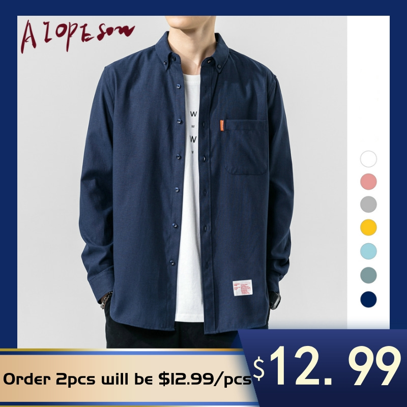 AIOPESON Summer New Men Shirt Casual Lapel Long Sleeve Shirts Men 60% Cotton Loose Solid Color Mens Shirt  Single Breasted