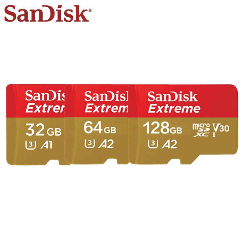 SanDisk Memory Card Extreme 32GB 64GB 128GB SDXC High Speed UHS-I Micro SD Card U3 4K A2 Flash Card Memory Microsd