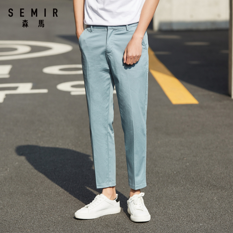Pants men 2020 summer new tooling style jogging cropped pants youth printing elastic waist trend