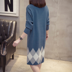 Image 2 - Plus Size Colorblock Knitted Dress 2019 Autumn Winter Clothes Korean Elegant Loose Long Sleeve Large Size Ladies Sweater Dresses