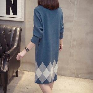 Image 2 - Plus rozmiar Colorblock dzianinowa sukienka 2019 jesienne zimowe ubrania koreański elegancki luźny z długim rękawem duże rozmiary damskie sukienki swetrowe