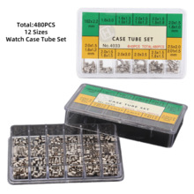 480pcs 12 Size Metal Watch Case Crown Tube Pipe Set Waterproof Crown Watch Part Repair Tool Replacement Accessory for Watchmaker