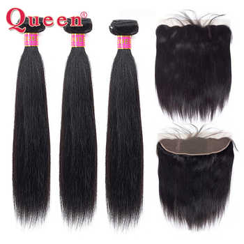 Queen Hair Products Brazilian Straight Human Hair Bundles With Frontal Closure Brazilian Remy Hair Weave Bundles With Closure - DISCOUNT ITEM  55% OFF All Category
