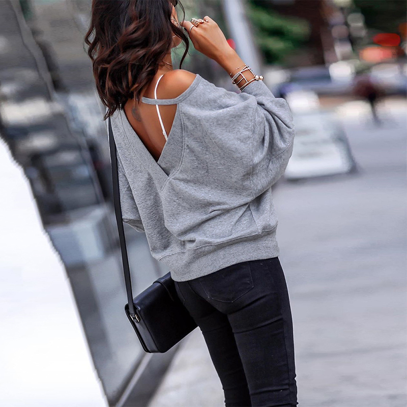 Off Shoulder Backless Sexy Batwing Sleeve Pure Casual Loose Women 's Streetwear Sweatshirt Tops SJ4519M